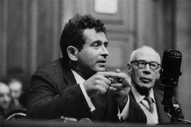 As Norman Mailer (left) speaks, Arthur Miller looks on. Photo: Erich Auerbach/Getty Images
