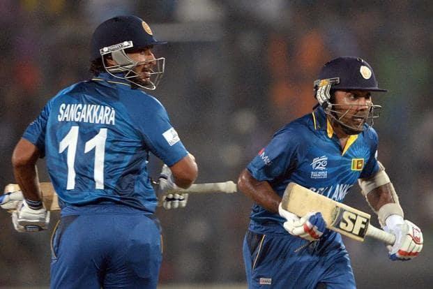 Sri Lanka batsmen Kumar Sangakkara (left) and Mahela Jayawardene (right) during the ICC World Twenty20 final cricket match between India and Sri Lanka at The Sher-e-Bangla National Cricket Stadium in Dhaka on Sunday. Photo: AFP