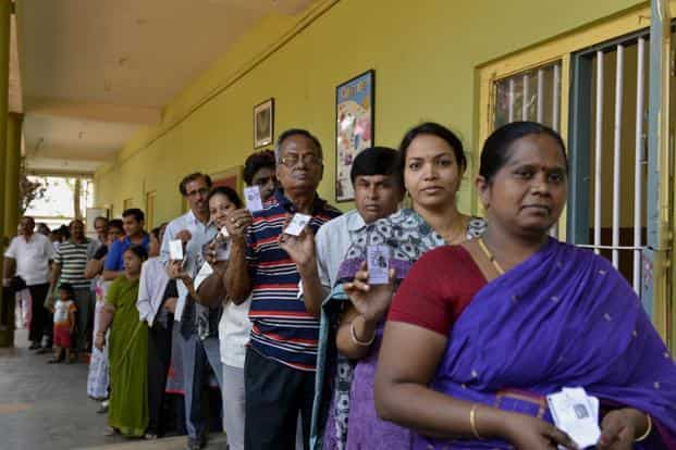 Aam Admi Party and of Narendra Modi have both enthused Bangalore people into standing (for and against) and certainly into voting. In Pic: A polling booth in Bangalore. Photo: Hemant Mishra/Mint