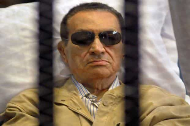 An Egyptian court on Wednesday sentenced ousted president Hosni Mubarak to 3 years in prison on charges of stealing public funds. Photo: AFP