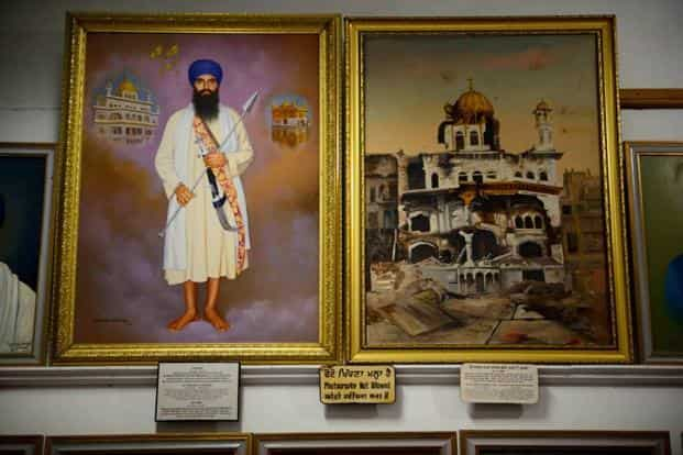A painting of separatist leader Jarnail Singh Bhindranwale and the Akal Takht in the museum inside the  Golden temple. Bhindranwale led the terror movement for a separate sikh nation and was eventually shot dead during the operation. Mint