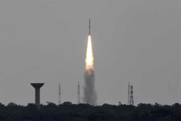 A distant view of the launch at Sriharikota on 30 June 2014. Reuters