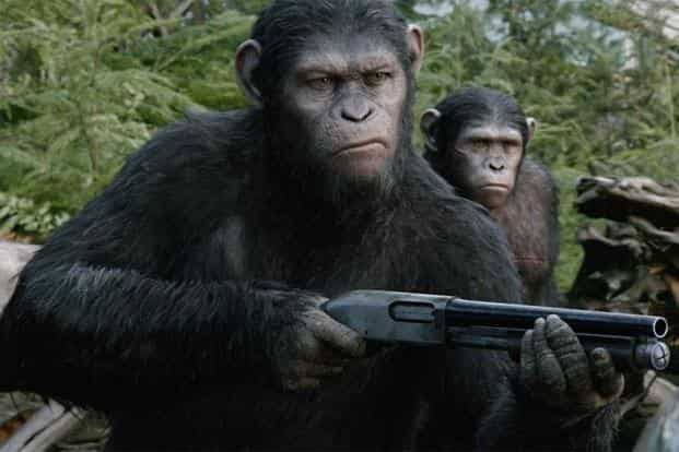 Caesar with his son Koba in 'Dawn of the Planet of the Apes'. A still from 'Dawn of the Planet of the Apes'
