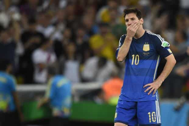 Argentina's Lionel Messi reacts after losing the World Cup final to Germany. Photo: AFP