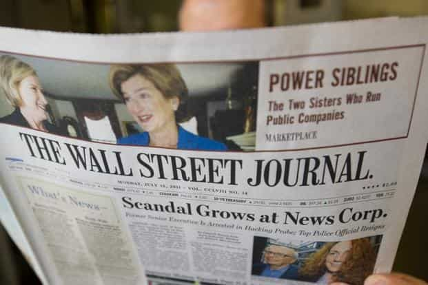 The Wall Street Journal workers were reviewing the systems to determine any signs of compromise, though they have not yet found any damage or tampering to the news graphics. Photo: AFP