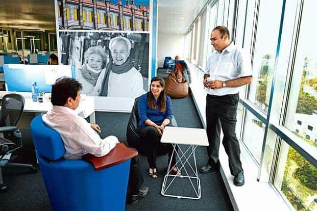 One of the breakout meeting spaces at the new Johnson & Johnson India office in Jogeshwari, Mumbai. Photographs by Abhijit Bhatlekar/Mint