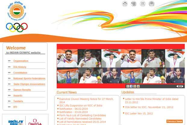 A screen grab of Indian Olympic Association website