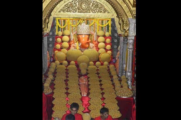 Lord Ganesha decorated with Modak tableau (Laddu) at the famous Moti doongari temple in Jaipur on Wednesday. PTI