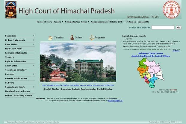 A screen grab of High Court of Himachal Pradesh website.