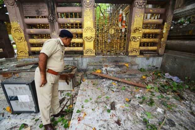 A file photo of an explosion site at Bodh Gaya Buddhist temple. Photo: AFP