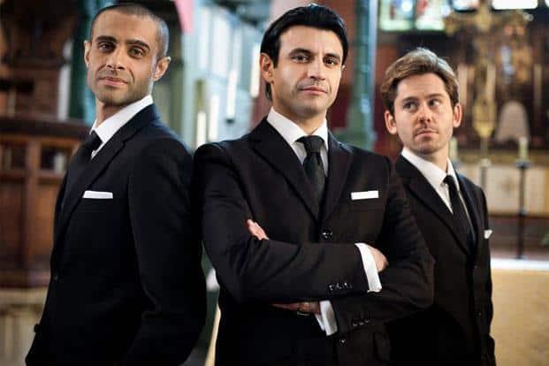Rez Kempton (left), Sam Vincenti (centre), and Martin Delaney in 'Amar Akbar & Tony'