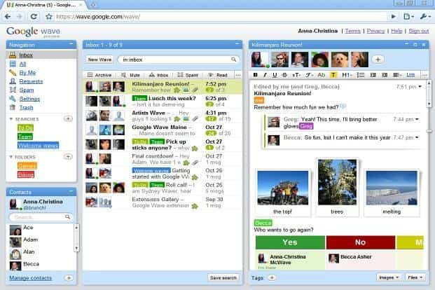 Wave was launched in September 2009 a real-time collaboration and communication tool which had email and instant messaging integration.