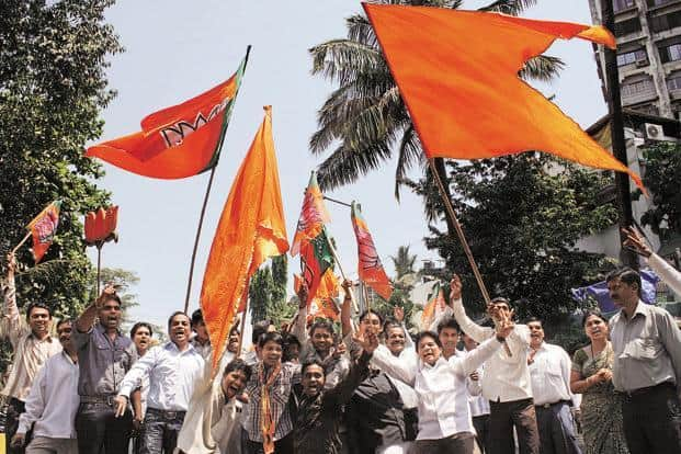 With the ruling Congress-Nationalist Congress Party and the opposition Bharatiya Janata Party (BJP)-Shiv Sena parting ways, it is a five-cornered contest in Maharashtra assembly polls  this time around, with Raj Thackeray's Maharashtra Navnirman Sena returning to the fray. Photo: Hindustan Times
