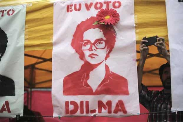A banner bearing the image of Brazilian president Dilma Rousseff. Rousseff will begin her second term as the president, and will extend her party's rule to a record 16 years. Reuters