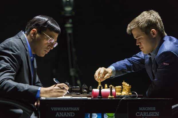 A file photo of the ongoing World Chess Championship match between India's Viswanathan Anand (left) and Norway's Magnus Carlsen. Photo: AP