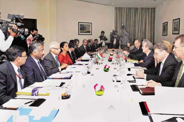 Delegates at the India-US Trade Policy Forum meeting. Photo: PTI
