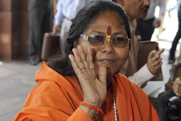 """Sadhvi Niranjan Jyoti expressed """"deep regret"""" over her actions and said she did not intend to hurt anyone's feelings. Photo: HT"""