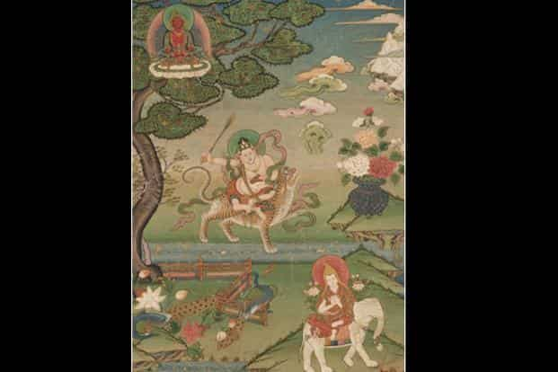 Visions of Khedrup Jey: The three paintings constitute a rare and complete set of thangkas depicting the Five Forms of Tsongkhapa (1357-1419) as visualised by his disciple Khedrup Geleg Pal Zangpo (1385-1438), known as Khedrup Jey.