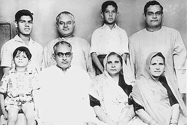 File photo of a young Atal Bihari Vajpayee (Top right) with his immediate family. Photo: HT