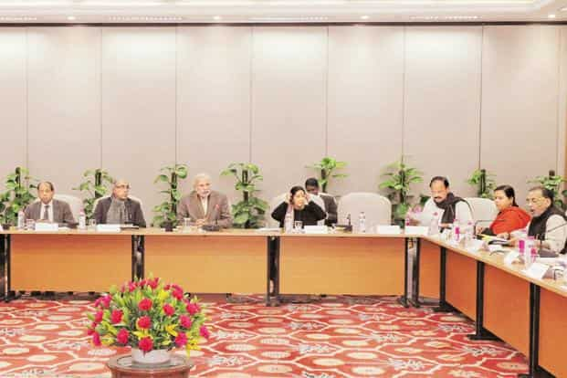 Prime Minister Narendra Modi chaired the meeting of the council on climate change in New Delhi on Monday. Photo: PTI