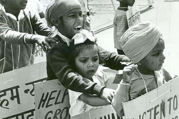 A file picture of  an Akali Dal demonstration by children shortly after the 1984 anti-Sikh riots. Photo: HT