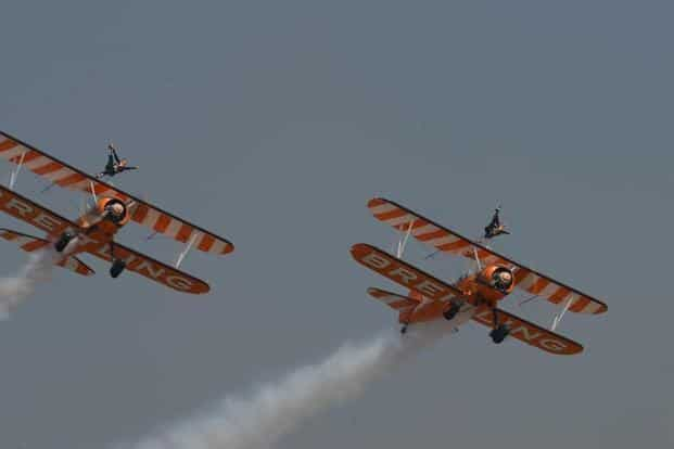 Acrobats from the Breitling Wingwalkers of UK made their debut in Indian skies at Aero India 2015.