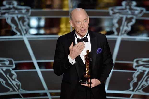 Actor J.K. Simmons with his best actor in a supporting role Oscar. Simmons won the award for playing a bullying jazz teacher in 'Whiplash'. Whiplash was the surprise winner of the night, grabbing three awards. AFP