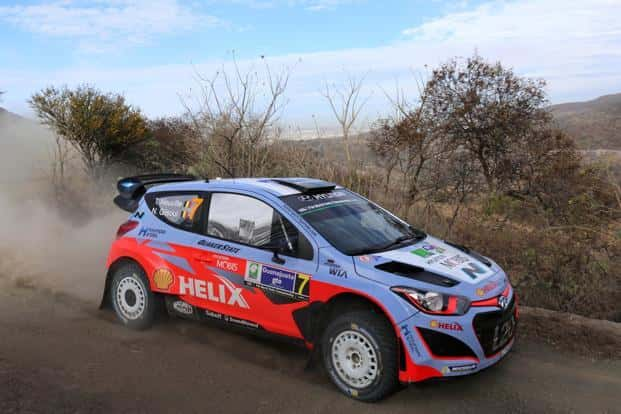 A modified Hyundai i20 at the 2015 FIA World Rally Championship in Mexico. Photo: Ronaldo Schemidt/AFP