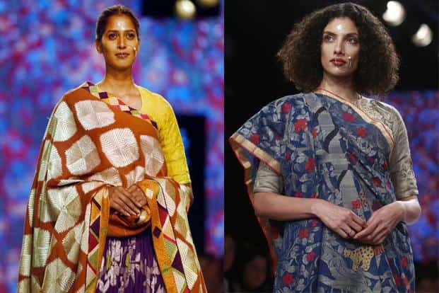 Ethnic collections with bold designs held sway. A creation by designer Gaurang (right). PTI