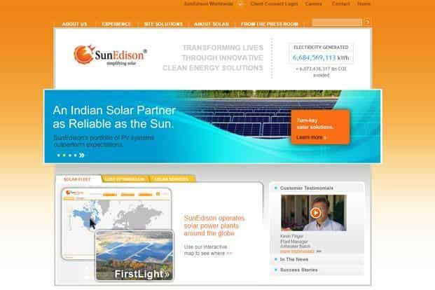 A screen grab of SunEdison website. Tim Derrick of SunEdison says each battery will be able to provide one village with 10 hours of daily power.