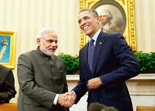 Modi got a pledge from US President Barack Obama for unspecified funding to raise solar production to 100 gigawatts by 2022 from about 3 gigawatts, and is fishing for more aid ahead of a climate summit in Paris in December. Photo: Reuters