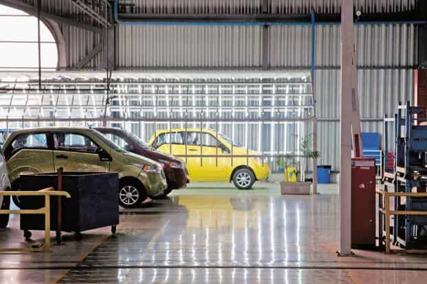 A file photo of the Mahindra Reva plant in Bommasandra, Bengaluru. Sohinder Gill of SMEV says only 16,000 electric cars and two-wheelers will be sold in FY15, down from 100,000 in FY12. Photo: Aniruddha Chowdhury/Mint