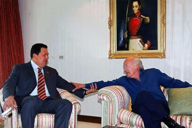 With late Venezuelan president and socialist leader Hugo Chavez during a meeting in Montevideo, Uruguay—Galeano's birthplace, and also where he breathed his last. AFP