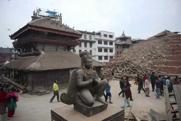 In the heart of Kathmandu, many of a cluster of temples and statues built between the 12th and 18th centuries by the ancient kings of Nepal have collapsed. Photo: Prakash Mathema/AFP