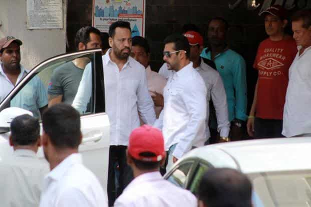 Bollywood actor Salman Khan, his father Salim Khan and others at his residence before travelling to a court appearance in Mumbai on Wednesday. Photo: AFP