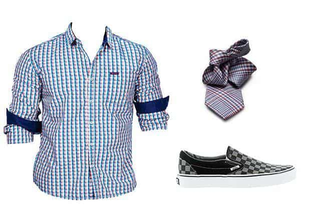 Don't limit your experiments to shirts; try check ties and shoes too.