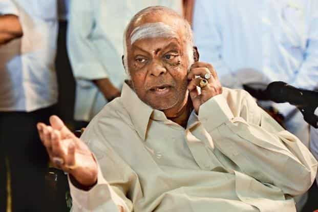 M.A.M. Ramaswamy at a press conference at his residence, Chettinad Palace, in Chennai on Tuesday. Photo: Mint