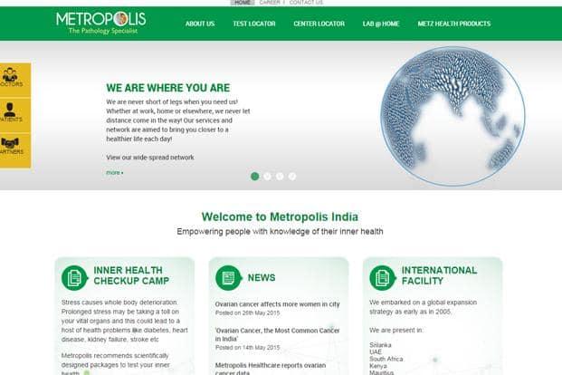 A screen grab of Metropolis Healthcare website.