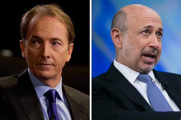 File photos of James Gorman (left) and Lloyd Blankfein, the CEOs of Morgan Stanley and Goldman Sachs, respectively. Photo: Bloomberg