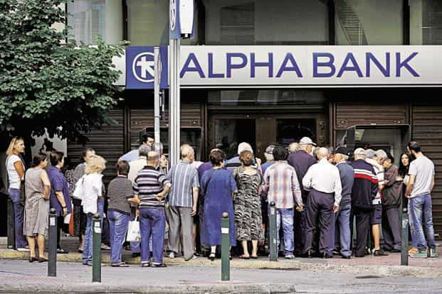 About 1,000 bank branches around Greece opened on Wednesday to allow pensioners to receive a small part of their benefits. Photo: Reuters