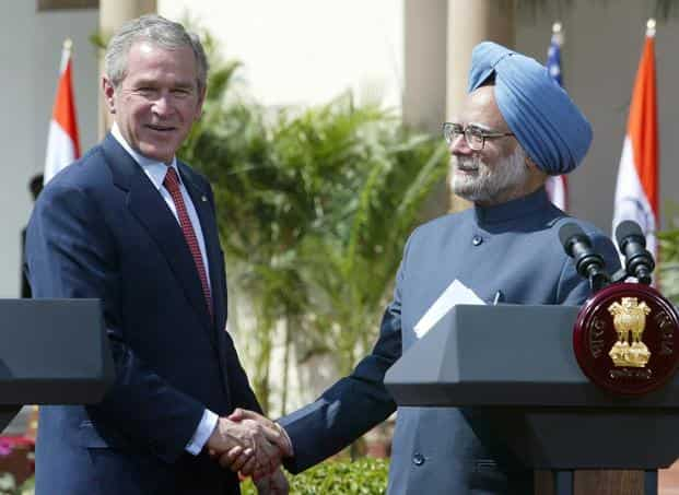 On 18 July 2005, US president George W. Bush and prime minister Manmohan Singh issued a historic joint statement renewing civil nuclear cooperation, eliminating the singular discord that had bedevilled mutual ties for over 30 years. Photo: AFP