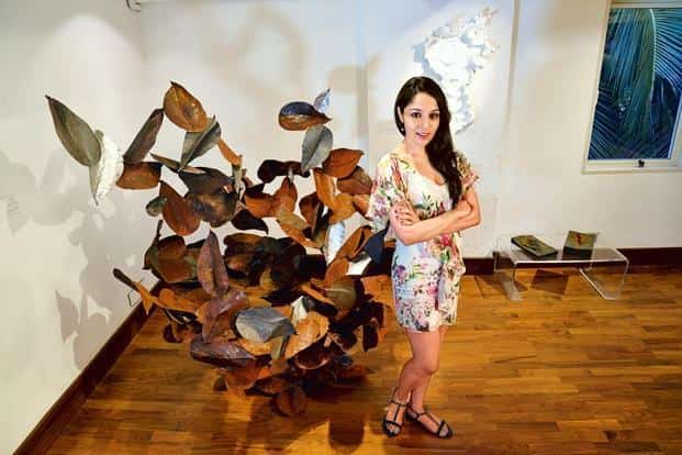 Lekha Washington with her work. Photo: Aniruddha Chowdhury/Mint
