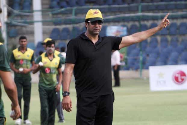 Pakistan's former cricketer Wasim Akram gestures during a fast bowlers training camp at National Stadium in Karachi, Pakistan, on Saturday, 1 August 2015. Photo: AP