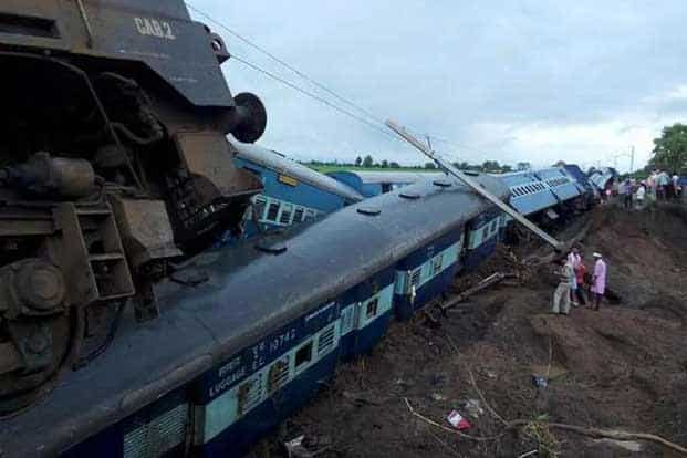 Seven bogies of Kamayani Express and three coaches and the engine of Janata Express were derailed around the same time, killing atleast 29 people and injuring hundreds others. Pic courtesy @PIB_India Twitter