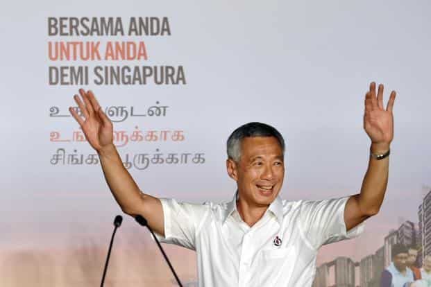 Singapore's Prime Minister Lee Hsien Loong, of the People's Action Party, celebrates after winning the general election in Singapore on 12 September 2015.  Photo: AFP