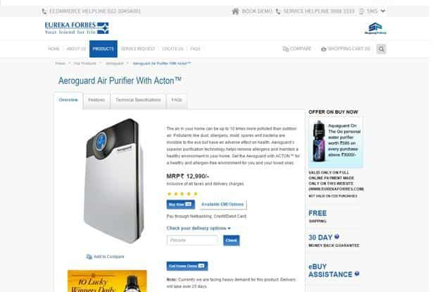 Eureka Forbes has had air purifiers in India for over 20 years.