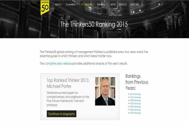 Published every two years, Thinkers50 is a who's who of business thinkers and ideas and is considered to be one of the world's most prestigious rankings.