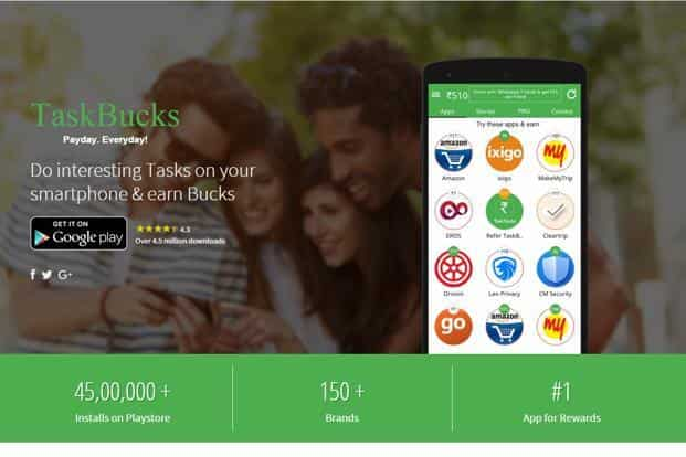 Taskbucks plans to cross 50 million downloads in the next two years, engaging millions of users with a variety of tasks they can perform to earn supplemental income ranging from `10 to `100.