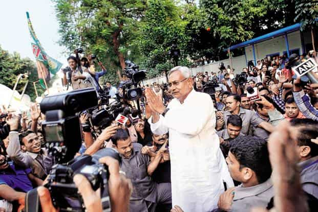 The Grand Alliance, led by Nitish Kumar, inflicted a massive defeat on the NDA in th Bihar assembly elections. Photo: HT