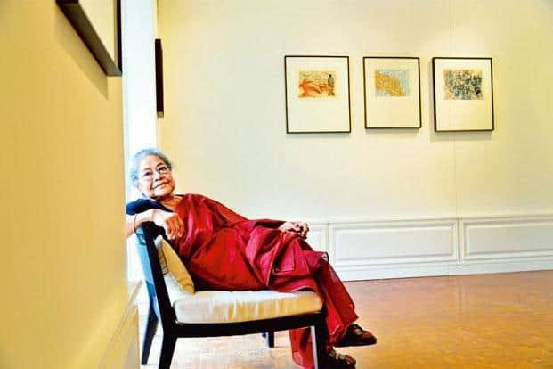 Arpita Singh at the Vadehra Art Gallery in New Delhi. Photo: Priyanka Parashar/Mint
